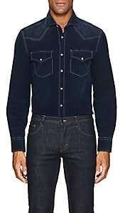 Brunello Cucinelli Men's Cotton Corduroy Western Shirt - Navy