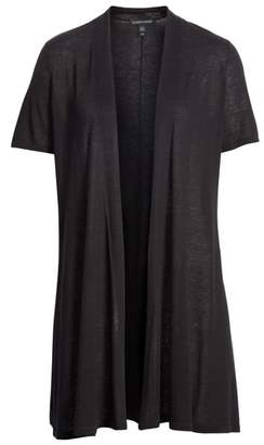 Eileen Fisher Short Sleeve Silk & Organic Linen Cardigan