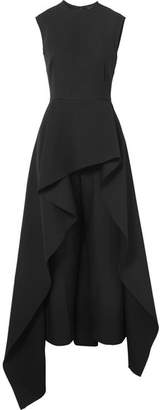 SOLACE London Soraya Asymmetric Ruffled Crepe Jumpsuit - Black
