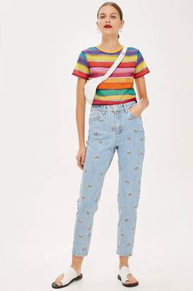 Topshop MOTO Embroidered Mom Jeans