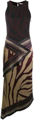 Roberto Cavalli faux wrap tiger printed dress