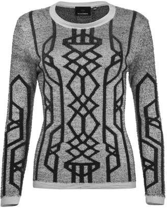 NY CHARISMA - Grey Cable Pattern Jacquard Pullover