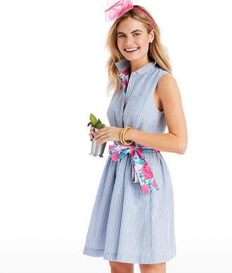 Vineyard Vines Seersucker Sleeveless Shirt Dress