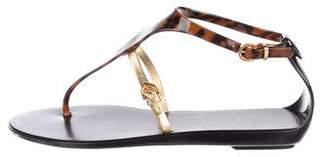 Sergio Rossi Rubber T-Strap Sandals