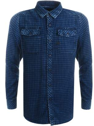 G Star Raw Gingham Landoh Shirt Blue