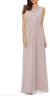 Quiz Embellished Pleated Chiffon Maxi Gown