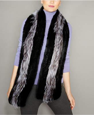 The Fur Vault Fox-Trim Knitted Rex Rabbit Fur Stole