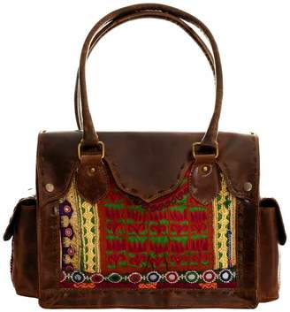 Vintage Addiction Brown Leather & Vintage Beaded Fabric Shoulder Bag