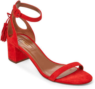 Aquazzura Blood Orange Pixie Tasseled Block Heel Sandals