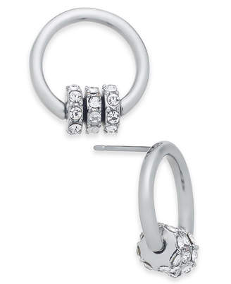 INC International Concepts I.n.c. Silver-Tone Pave Rondelle Bead & Circle Stud Earrings