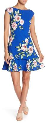 Eliza J Cap Sleeve Print Shift Dress