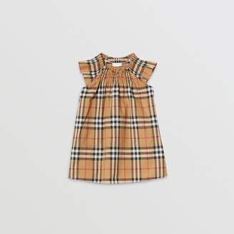 Burberry Smocked Vintage Check Cotton Dress