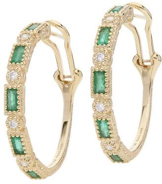 Judith Ripka 14K Gold Gemstone Hoop Earrings