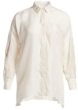 Brunello Cucinelli Linen-Stripe Silk Shirt