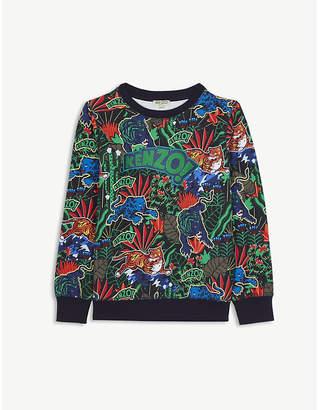 Kenzo Logo jungle print cotton sweatshirt 4-16 years