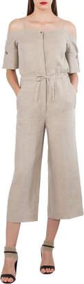 Akris Open-Shoulder Elbow-Sleeve Lined Wide-Leg Jumpsuit