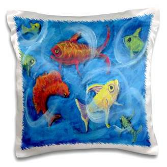 3dRose Dance Club, fish swing and swirl in bright colors - Pillow Case, 16 by 16-inch
