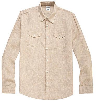 Murano Solid Slim Linen Sportshirt