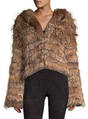 Alice + Olivia Nadia Tiered Hooded Rabbit Fur Coat