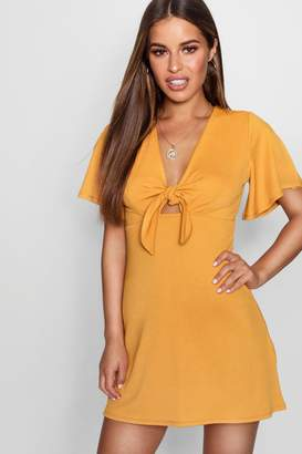 boohoo Petite Tie Front Shift Dress