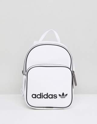 adidas Mini Backpack In White Faux Leather