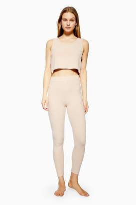 Topshop Womens Lounge Nude Brushed Ribbed Joggers
