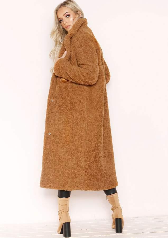 Missyempire Karen Brown Teddy Borg Longline Coat