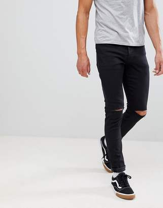 Mennace Black Slashed Relaxed Skinny Makavelli Jeans