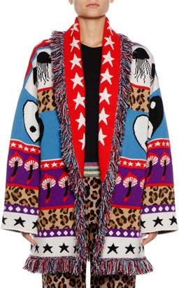 Alanui Psychedelic Mushrooms & Star Intarsia Cashmere-Blend Cardigan Sweater