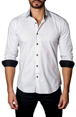 Jared Lang Speckle Print Trim Fit Shirt