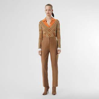 Burberry Wool Silk Mohair Linen Tailored Trousers