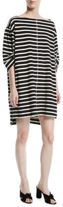 Marc Jacobs Bateau-Neck 3/4-Sleeves Breton Striped Cotton Dress