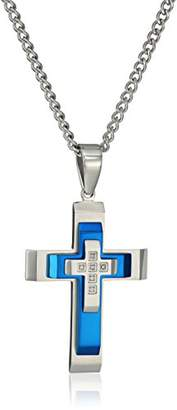 Men's .05Ctw Stainless Steel with Blue Ip Stacked Cross Pendant Necklace