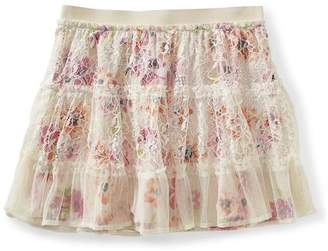Aeropostale Womens Floral Overlay Lace Mini Skirt Xs