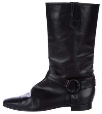Manolo Blahnik Leather Mid-Calf Boots Black Leather Mid-Calf Boots