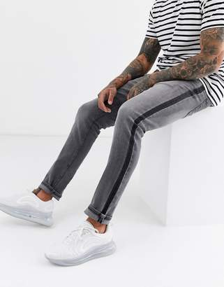 ONLY & SONS slim fit side stripe jeans in grey wash