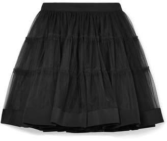 Moschino Silk Satin-trimmed Tulle Mini Skirt - Black