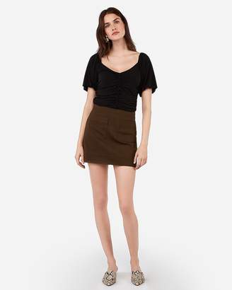 Express Ruched Button Front Tee