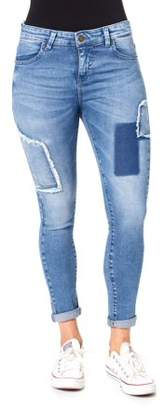 Edge of Reason Juniors' Patch Work Rolled Cuff Ankle Skinny Jeans