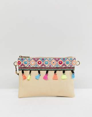 South Beach Natural Beach Clutch With Tassle Mirror Deatil And Removeable Strap