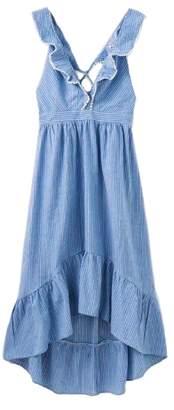 Goodnight Macaroon 'Joane' Frill Cross Strap Chambray Dress