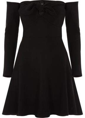 River Island Womens Black bardot long sleeve skater dress