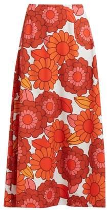 Dodo Bar Or Maximillianne Floral Print Crepe Midi Skirt - Womens - Orange White