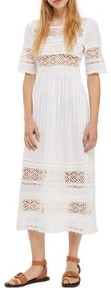 Women's Topshop Pixie Broderie Midi Dress $95 thestylecure.com