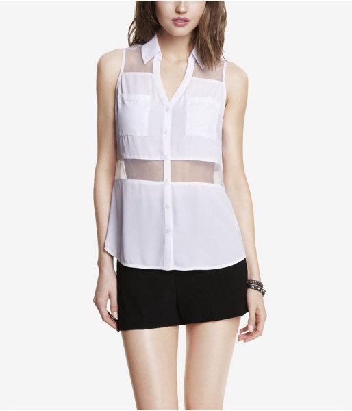 Express Organza Inset Sleeveless Portofino Shirt