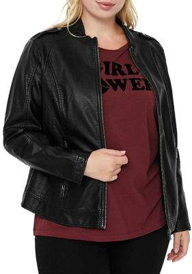 Junarose Plus Damas Long Sleeve Faux-Leather Jacket