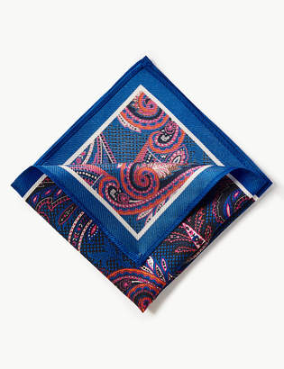 M&S Collection LuxuryMarks and Spencer Pure Silk Paisley Print Pocket Square