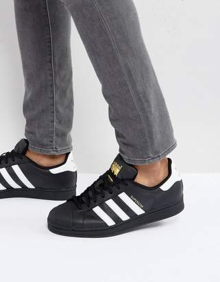 adidas Superstar Trainers In Black B27140