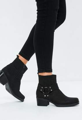 Missguided Black Faux Suede Square Toe Ankle Boots