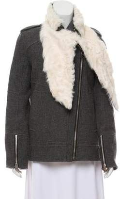 IRO Wool-Blend Fur-Trimmed Jacket